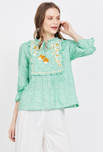 GLOBAL DESI Embroidered Three-quarter Sleeves Top