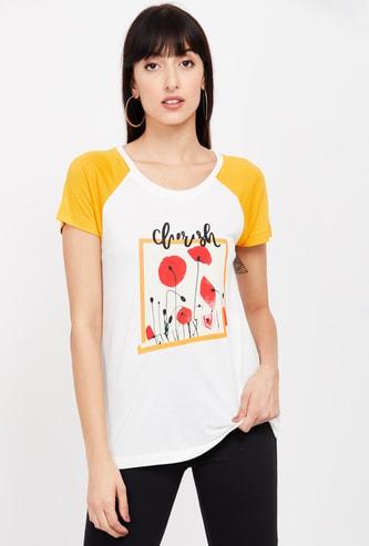MS. TAKEN Printed Raglan Sleeves T-shirt