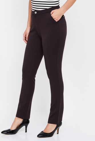 XPOSE Solid Slim Straight Trousers