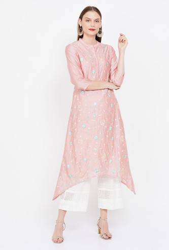 MELANGE Floral Embroidered Kurta with Asymmetric Hem