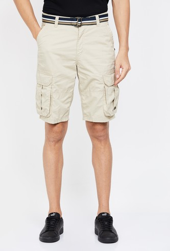 T-BASE Solid Regular Fit Cargo Shorts
