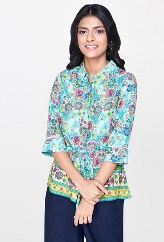 GLOBAL DESI Printed Regular Fit Shirt with Tie-Up