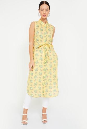 GLOBAL DESI Floral Print Sleeveless Shirt Tunic