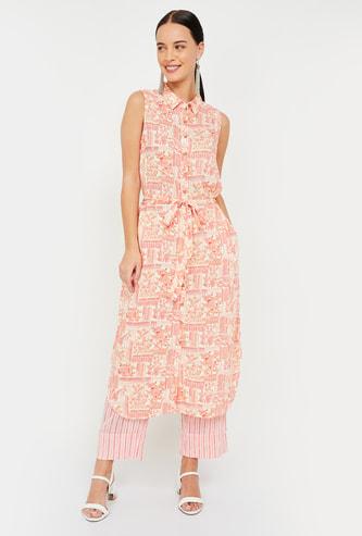 GLOBAL DESI Floral Print Sleeveless Shirt Kurta with Palazzo Pants