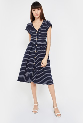 VERO MODA Striped V-neck Fit & Flare Dress