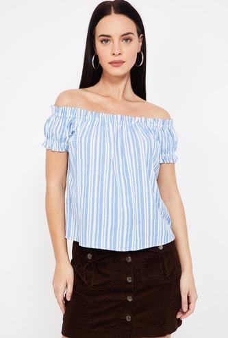 VERO MODA Striped Off-Shoulder Top