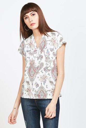 CODE Printed V-neck Top wtih Cap Sleeves
