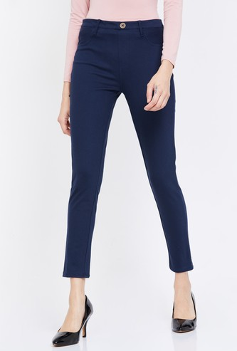 MS. TAKEN Slim Fit Solid Trousers