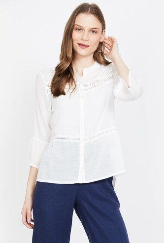 MS. TAKEN Solid Casual Shirt with Bell Sleeves