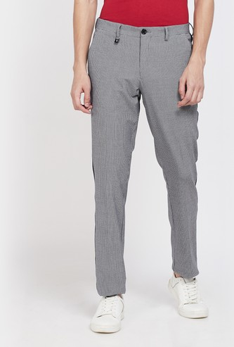 V DOT Houndstooth Pattern Weave Skinny Chinos with Contrast Taping