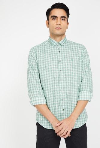 V DOT Gingham Checks Slim Fit Casual Shirt