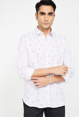 V DOT Printed Slim Fit Casual Shirt