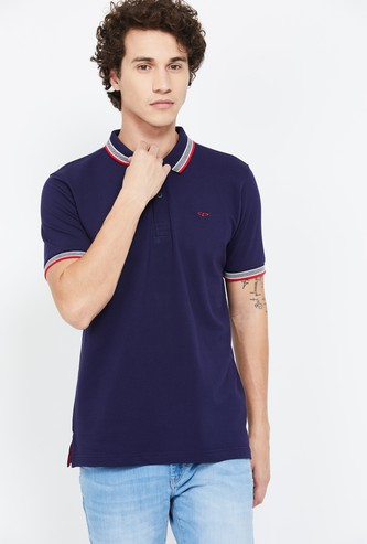 COLORPLUS Solid Regular Fit Polo T-shirt with Contrast Tipping