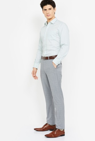 LOUIS PHILIPPE Checked Slim Tapered Trousers