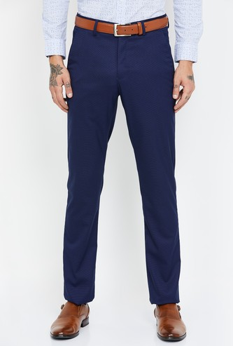 LOUIS PHILIPPE Textured Slim Tapered Trousers