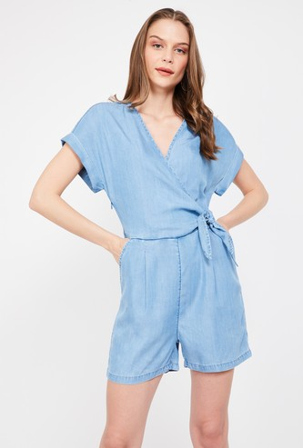 VERO MODA Solid Chambray Playsuit