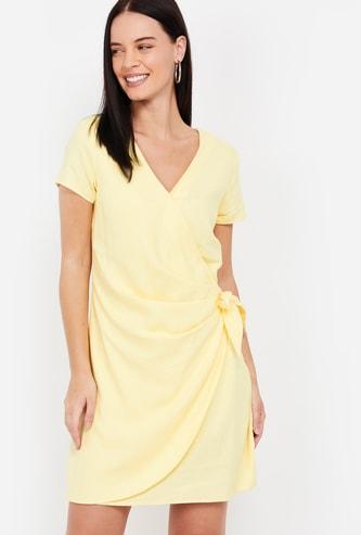 VERO MODA Solid Wrap Dress
