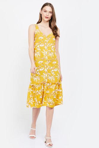 VERO MODA Floral Print Sleeveless A-line Dress