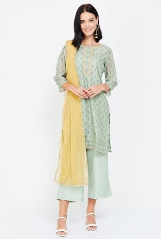 MELANGE Women Printed Short Kurta with Straight Pants and Dupatta