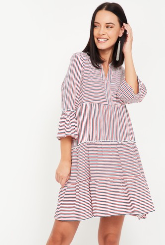 VERO MODA Women Striped Shift Dress with Bell Sleeves