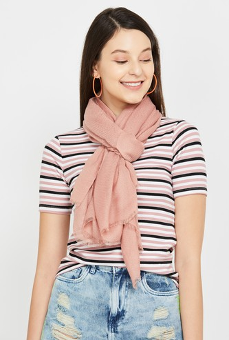 GINGER Textured Stole with Fringes