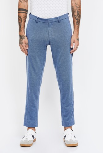 ALLEN SOLLY Textured Slim Fit Casual Trousers