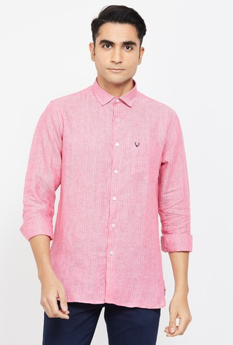 ALLEN SOLLY Striped Slim Fit Casual Linen Shirt