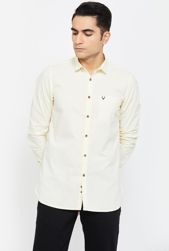ALLEN SOLLY Solid Super Slim Fit Casual Shirt