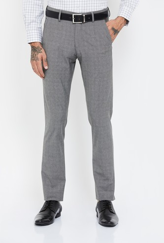 LOUIS PHILIPPE Checked Super Slim Fit Formal Trousers