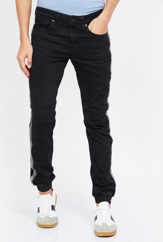 VOI JEANS Solid Slim Tapered Denim Joggers