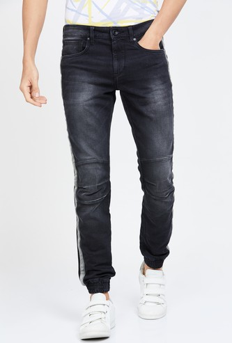 VOI JEANS Stonewashed Slim Tapered Denim Joggers