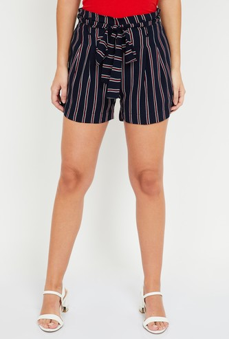 MS. TAKEN Striped Regular Fit Shorts with Tie-Up