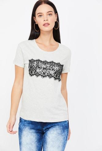 MS. TAKEN Typographic Print Round Neck T-shirt
