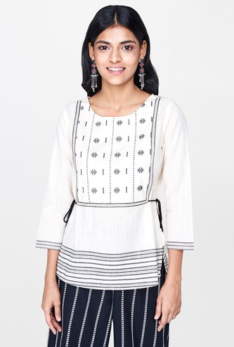 GLOBAL DESI Printed Tunic with Tie-Up