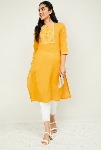 MELANGE Women Textured Three-quarter Sleeves Kurta