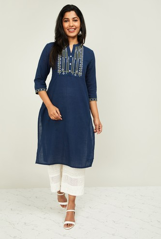 MELANGE Women Embroidered Three-Quarter Sleeves Kurta