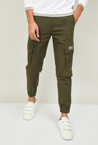 BOSSINI Men Solid Slim Tapered Cargo Joggers