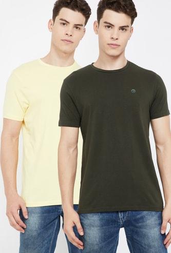BOSSINI Solid Regular Fit Crew Neck T-shirt- Pack of 2