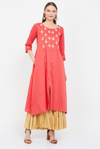 SPAN Embroidered Flared Kurta with Sequin Embellishments