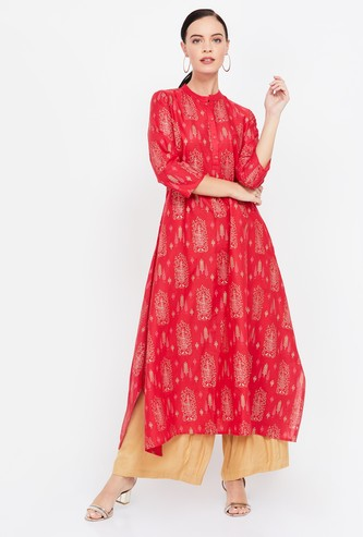 SPAN Printed Flared Kurta with Button Placket