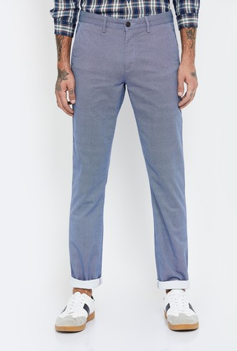 ARROW SPORT Textured Slim Fit Flat-Front Trousers