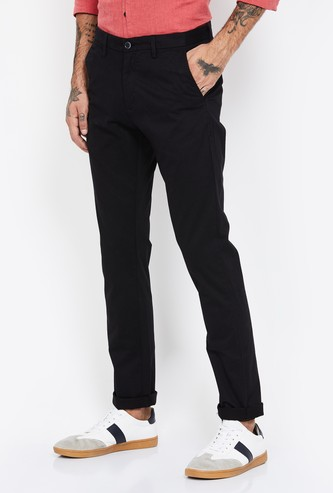 ARROW SPORT Pinstriped Slim Straight Casual Trousers