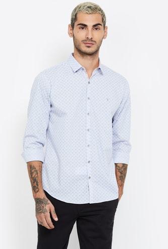 V DOT Printed Full Sleeves Slim Fit Shirt