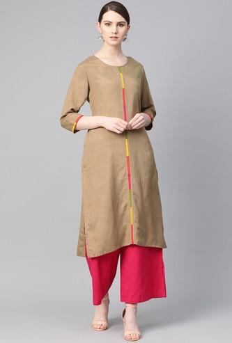 SHREE Solid Straight Kurta with Contrast Taping