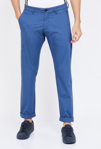 ALLEN SOLLY Textured Slim Straight Chinos