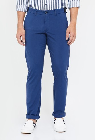 ALLEN SOLLY Solid Slim Straight Chinos