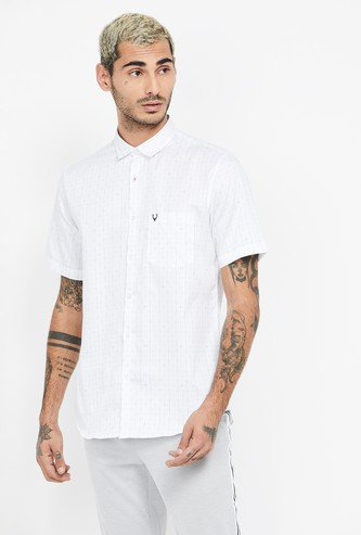 ALLEN SOLLY Checked Short Sleeves Slim Fit Casual Shirt