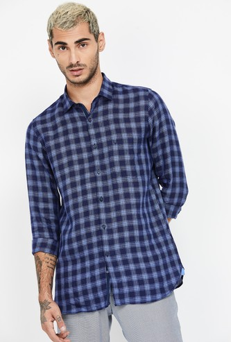 ALLEN SOLLY Checked Full Sleeves Super Slim Fit Shirt