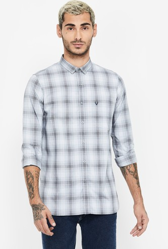 ALLEN SOLLY Checked Full Sleeves Super Slim Fit Casual Shirt