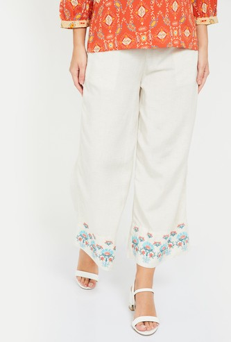 GLOBAL DESI Floral Embroiery Straight Pants